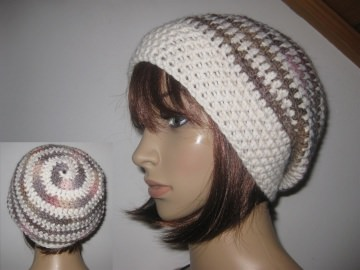 Mütze, Beanie im Spiral-Design, Häkelmütze