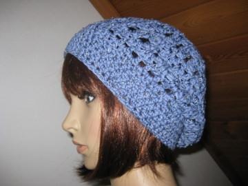 Mütze mit kleinen Perlen, Beanie, Häkelmütze, gehäkelt, mit Baumwolle