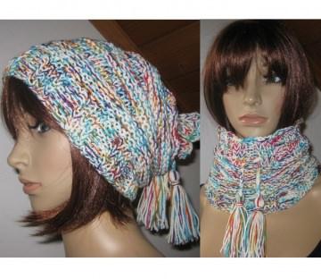 Mütze und/oder Loop-Schal, 2 in 1, verschiedene Tragemöglichkeiten, gestrickt