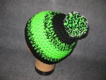 Mütze mit reflektierender Leuchtbommel, reine Merino-Wolle, Kindermütze