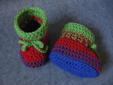 Babyschuhe Gr. 1, Babysocken aus exrafeiner Merino-Wolle