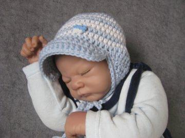 Babymütze mit Schirm und Ohrenklappen, Neugeborenenmütze, Wintermütze aus reiner weicher Wolle