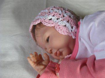 Babymütze, Neugeborenenmütze, Taufmütze, Sommermütze aus Baumwolle