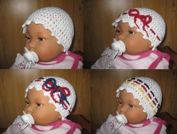 Babymütze mit Wechselbändern, Sommermütze aus Baumwolle