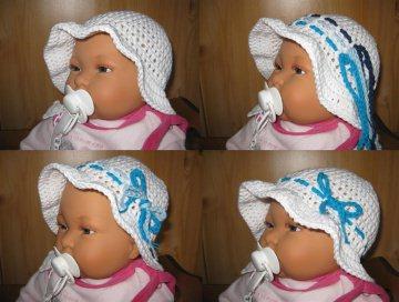 Babymütze mit Wechselbändern, Sommermütze, Sonnenhut aus Baumwolle