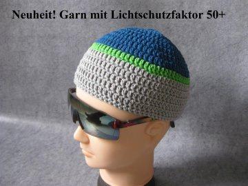 Männermütze extrakurz (ohrfrei), aus Garn mit Sonnenschutz, Mütze - Handarbeit kaufen
