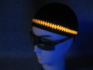 Männermütze extrakurz (ohrfrei) mit UV-aktivem Leuchtstreifen, Mütze aus Baumwolle mit Elasthan - Handarbeit kaufen