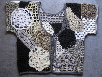 Auffällige Häkeljacke, freeform crochet, einzigartige Sommerjacke