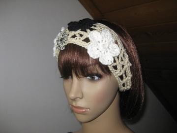 Haarband mit Blümchen, Stirnband, Haarschmuck, gehäkelt  - Handarbeit kaufen