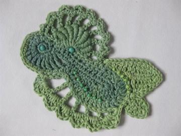 Applikation, Freeform crochet mit Kunststoff-Perlen, aus Baumwolle  - Handarbeit kaufen