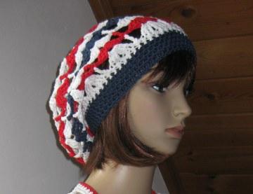 Mütze, Beanie, Sommer-Mütze mit hübschem Muster, gehäkelt aus Baumwolle