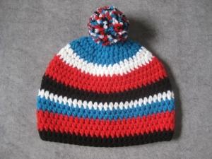 RESERVIERT für Rebekka: Mütze mit reflektierender Leuchtbommel, Größe M, Kindermütze, gehäkelt