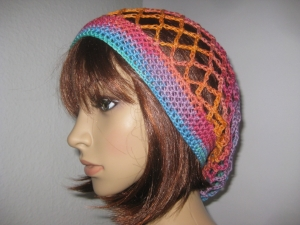 Mütze, Beanie, Sommer-Mütze mit buntem Farbverlauf