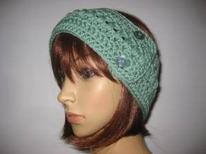 Stirnband, größenverstellbar, aus weicher Wolle mit hübschem Muster, Ohrwärmer, Haarband  - Handarbeit kaufen