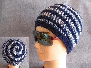 Männer-Mütze im Spiral-Design, Mütze, Beanie, Häkelmütze