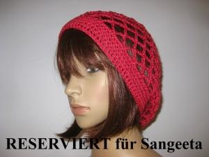 RESERVIERT für Sangeeta: Mütze, rot glänzend, Sommermütze, Beanie