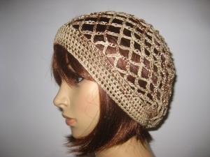 Mütze, beige, teilweise glänzend, Sommermütze, Beanie - Handarbeit kaufen