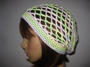 Mütze, Beanie, Sommer-Mütze mit schönem Farbverlauf, aus Baumwolle und Viskose  - Handarbeit kaufen