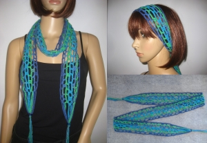 Schmuckschal, Haarband, Häkelschal, Sommerschal aus elastischer Baumwolle - Handarbeit kaufen