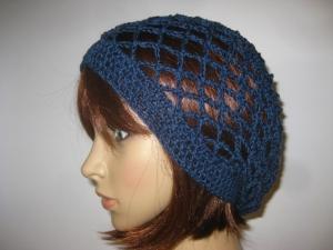 Mütze, dunkelblau glänzend, Sommermütze, Beanie  - Handarbeit kaufen