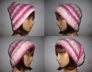Warme Strickmütze mit Seide, variabel tragbar, Mütze, Beanie, Hipstermütze  - Handarbeit kaufen