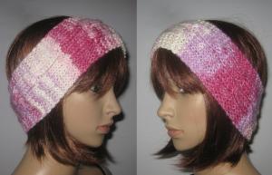 Stirnband aus weicher Wolle mit Seide und mit Zopfmuster, Ohrwärmer, Haarband - Handarbeit kaufen