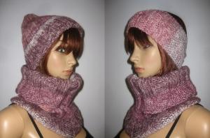 Set: Schlauchschal, Mütze und Stirnband, gestrickt aus weicher Wolle mit Farbverlauf - Handarbeit kaufen