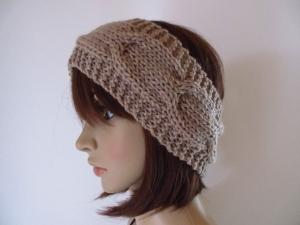 Stirnband aus weicher Wolle mit Zopfmuster, Ohrwärmer, Haarband - Handarbeit kaufen