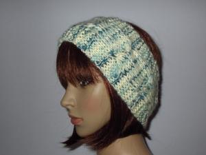 Stirnband aus weicher Wolle mit Zopfmuster und etwas Mohair, Ohrwärmer, Haarband - Handarbeit kaufen