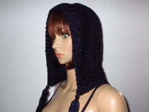 Mütze, Kapuze, Frisur schonend, leicht und warm, blau glänzend - Handarbeit kaufen