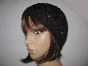 Mütze, schwarz glänzend, Sommermütze, Beanie, Häkelmütze - Handarbeit kaufen