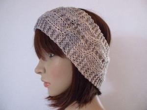 Stirnband aus reiner weicher Wolle mit Zopfmuster, Ohrwärmer, Haarband  - Handarbeit kaufen