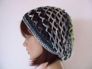 Mütze, Beanie, Sommer-Mütze mit schönem Farbverlauf, aus Baumwolle, Leinen und Viskose - Handarbeit kaufen