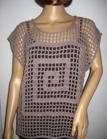 Legeres Netz-Top mit Grafik-Muster, Häkel-Top, Überwurf, Pulli, Tunika, Shirt - Handarbeit kaufen