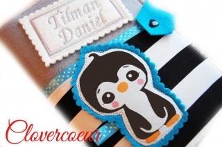 U-Hefthülle Pinguin 3 in 1 U-Heft Hülle türkis Mädchen Junge U Heft Untersuchungsheft - Handarbeit kaufen