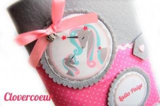 3 in 1 U-Heft Hülle Einhorn Mama & Baby Unicorn rosa Mädchen Junge U Heft - Handarbeit kaufen