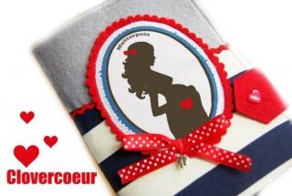 Mutterpasshülle Mutterpass Hülle Mama Silhouette rot blau Streifen - Handarbeit kaufen