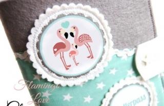 Mutterpasshülle Flamingo Familie Mutterpass Hülle mint - Handarbeit kaufen