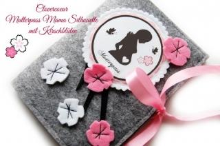 Mutterpass Hülle Mutterpasshülle Mama Silhouette Kirschblüte - Handarbeit kaufen