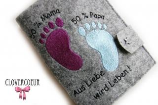 Mutterpasshülle Babyfüße 50% Mama 50 Papa Mutterpass Hülle lila blau - Handarbeit kaufen