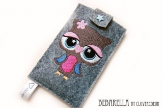 Eule  ~ Handytasche - gestickt Handyhülle  owl - Handarbeit kaufen