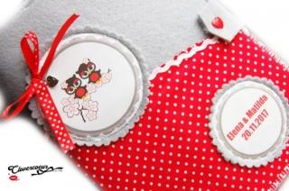 ZwillingSet TwinSet 3 in 1 U-Heft Hülle U-Hefthülle Eulen rot Zwillinge  - Handarbeit kaufen