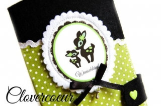 Mutterpasshülle Reh Mama & Baby grün schwarz Handarbeit  - Handarbeit kaufen