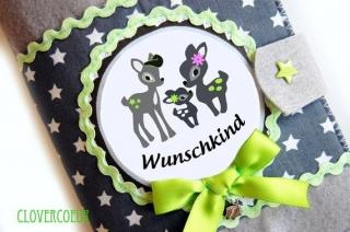 Mutterpasshülle Papa Mama & Baby Reh Mutterpass Hülle Sterne grau grün - Handarbeit kaufen