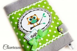 U-Hefthülle 3 in 1 U-Heft Hülle Eule ~ grau grün Junge Mädchen   U Heft - Handarbeit kaufen