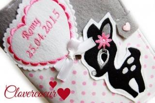 U-Hefthülle Reh mit Luftballon 3 in 1 U-Heft Hülle rosa weiß Mädchen Junge U Heft - Handarbeit kaufen