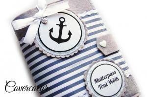 Mutterpass Hülle Anker maritime Mutterpasshülle grau Streifen - Handarbeit kaufen