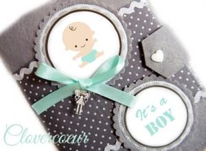 Baby Junge Mutterpasshülle grau mint Mutterpass Hülle  - Handarbeit kaufen
