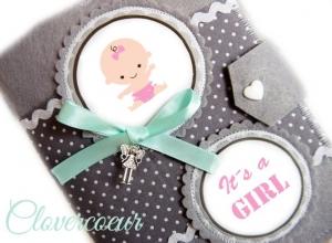 Mutterpasshülle Baby Mädchen Mutterpass Hülle grau mint rosa