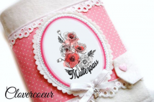 Mutterpasshülle Mohnblume Mutterpass Hülle Mutterkindpass Blume weiss rosa  - Handarbeit kaufen